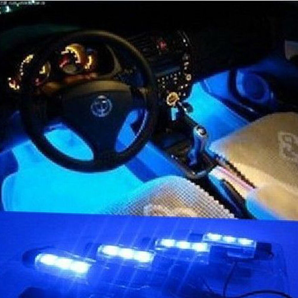 4x 3 LED Blue Neon Lights Bulbs For Car Interior Decoration w/Cigarette Lighter