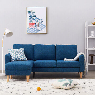 2, 3 Seater Fabric Sofa Armchair with Left or Right Footstool Couch Padded Seat