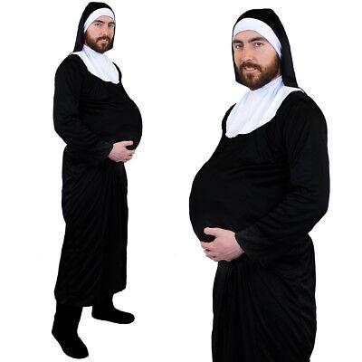 NUN COSTUME PREGNANT MENS STAG BLACK HABIT CROSS RELIGIOUS FANCY DRESS CHURCH - Men Nun Costume
