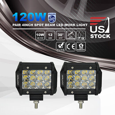 2x 4inch 120W Philips LED Work Light Pods Spot Beam Offroad Fog ATV Driving Lamp