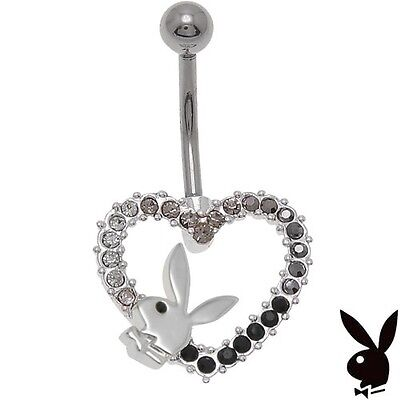 Playboy Belly Button Ring Heart Bunny Crystal Curved Barbell Navel Body Jewelry  ()