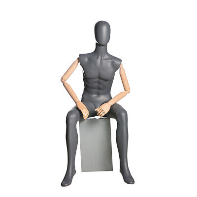 Adult Male Matte Gray Seated Egg Head Fiberglass Mannequin With Flexible Arms