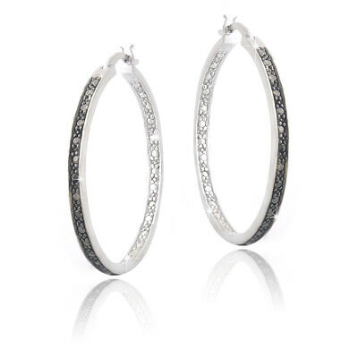Black Diamond Accent 30mm Round Hoop Earrings