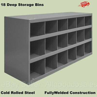 Work Shop Steel Bins 18 Pigeonhole Compartments Parts Fittings Nut Bolt Storage