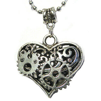 Handmade Steampunk Gears Mechanical Puffy Heart STAINLESS STEEL 18