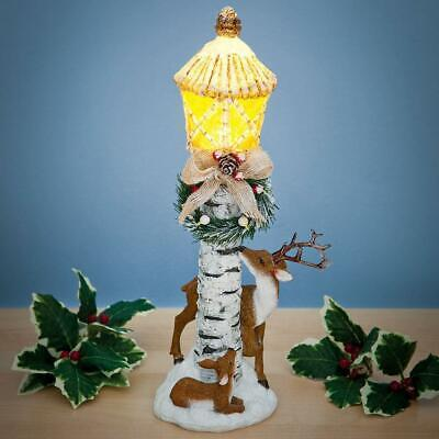 """LED Lighted Christmas Lamp Post w/ Deer, Wreath, Bow, & Glitter Accents 14""""H"""