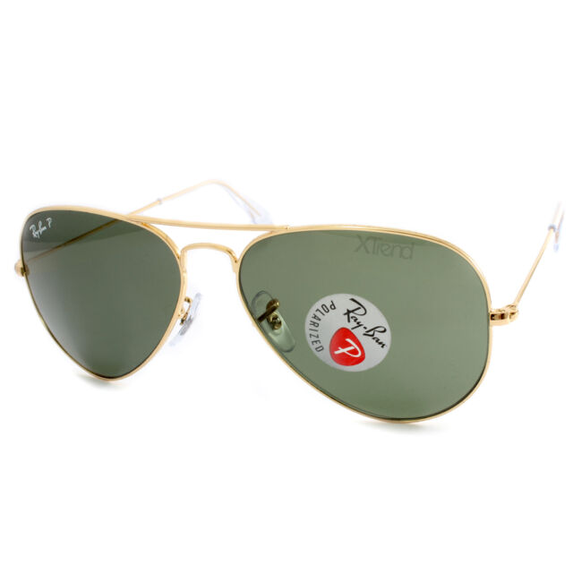 Ray Ban RB3025 001/58 Aviator Gold/Green Polarised Sunglasses Sizes 55 58 62