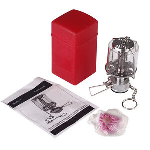 Portable Camping Lantern Gas Light Tent Lamp Torch Hanging Chimney Butane 80LUX