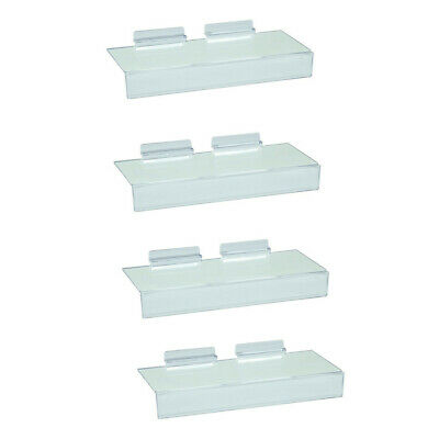 4 Pc 4 X 10 Inch Slatwall Clear Acrylic Shoe Shelf 1 Inch Sign Holding Slot