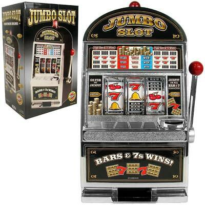 Jumbo Slot Machine Coin Bank Home Jackpot Casino Sounds Flashing Light Spin Reel