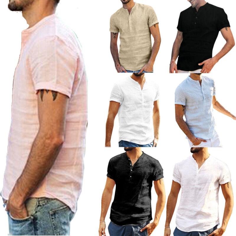 Men Linen Short Sleeve Summer Plain Shirts Casual Beach Holi