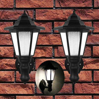 2pcs Waterproof Wall Mount Solar Lights Outdoor Pathway Gate Bright White Lamp Bright Solar Lighting