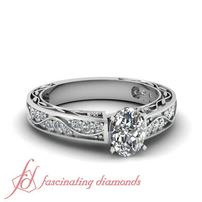 Pave Set Engagement Ring 1.35 Ct Oval Shaped SI2-E Color Diamond GIA Certified