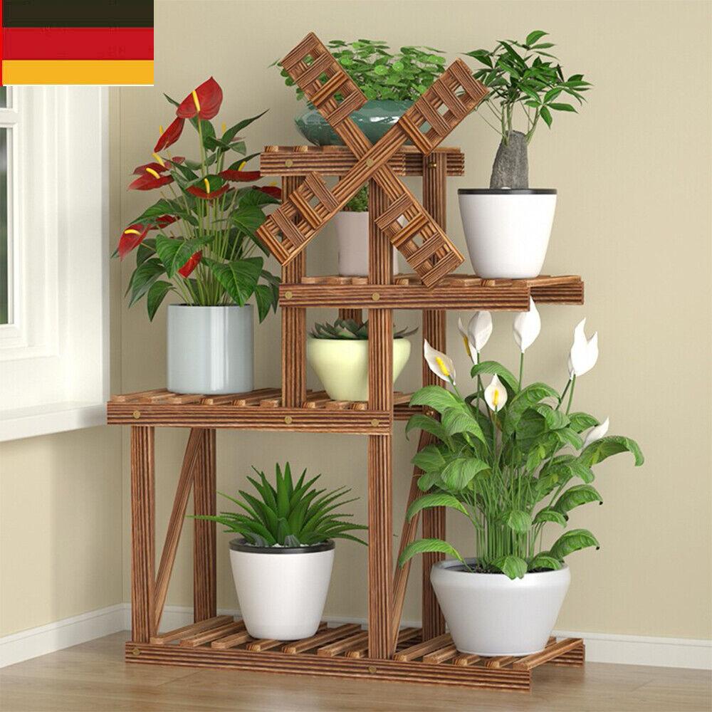 Holz Pflanzentreppe Blumentreppe Blumenbank Pflanzregal Ständer Balkon Regal DE