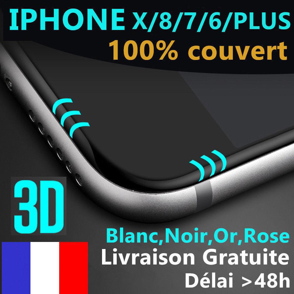 iphone 6s/6/7/plus 8/x/xr/xsmax vitre verre trempe 3d film protection ecran full