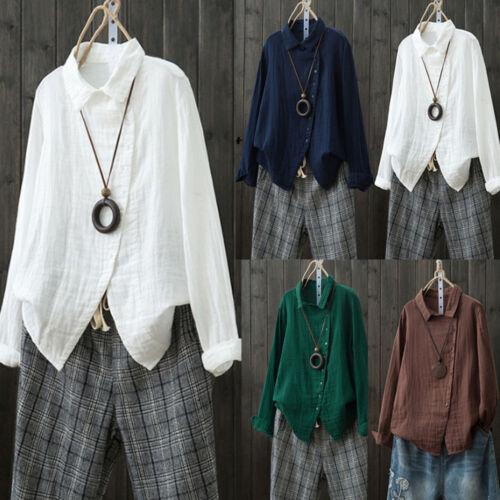 Women Plus Size Long Sleeve Plus Size Solid Linen Loose Button Tops Blouse Shirt