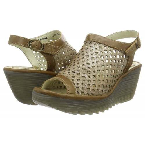Ladies Fly London Yuti 734Fly Laser Cut Out Sling Leather Wedge Sandal Size