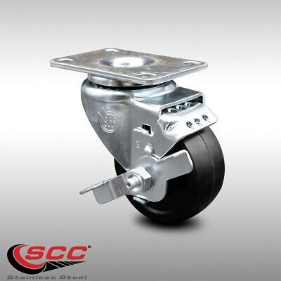 Ss Soft Rubber Swivel Top Plate Caster W3 Wheel Brake