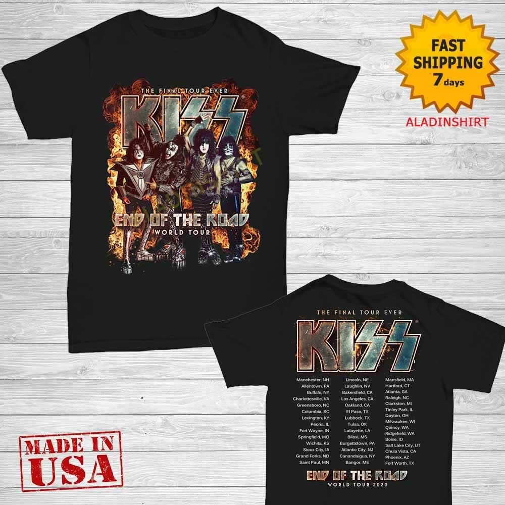 The Kiss Band Rock End of The Road World Tour 2019 White Men/'s T-Shirt S-5XL