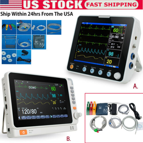 Portable Medical Patient Monitor Vital Sign ICU ECG NIBP RESP TEMP SPO2 PR/HR US
