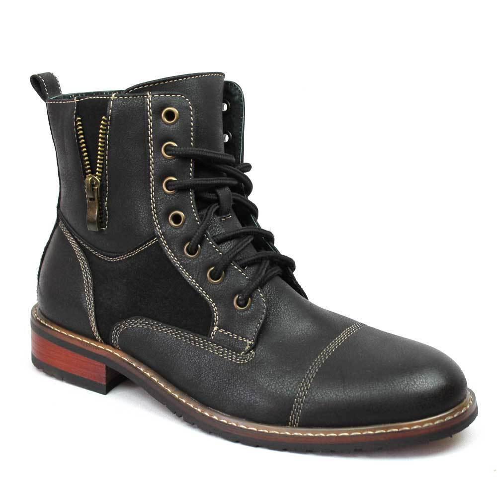 Boots - New Men's Black Ferro Aldo High Top Boots Cap Toe Suede / Leather Lace Up 808561