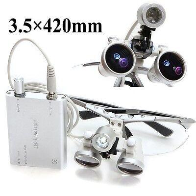 Silver Dental Loupes 3.5x 420mm Surgical Medical Binocular Led Head Light Lamp