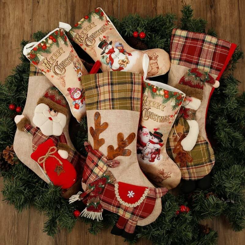 Christmas Stocking Embroidered Santa Reindeer Snowman Xmas S