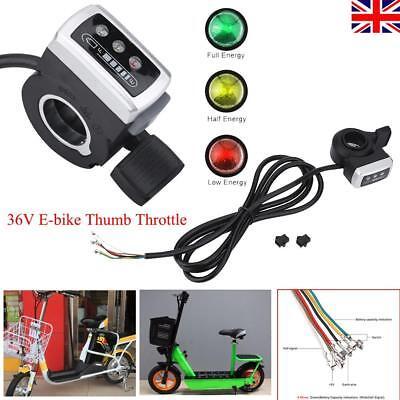 36V Electric Bicycle Speed Control Thumb Throttle E-Bike Battery Capacity LED UK