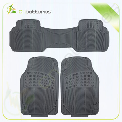 Car Floor Mat 3pc Heavy Duty Odorless Trimmable Durable Black Full Set
