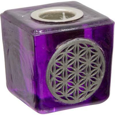 Purple Cube Chime (Mini) Candle Holder w/Flower of Life Symbol!