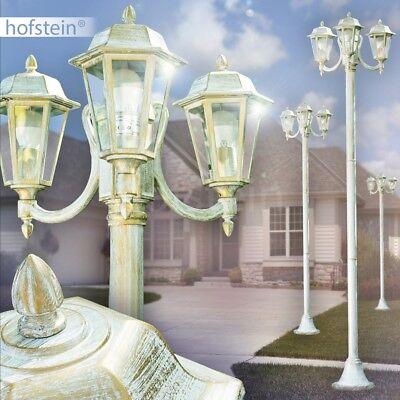 Weiß Kandelaber (Wege Garten Beleuchtung Aussen Steh Leuchten Klarglas Kandelaber weiss-gold )