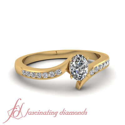 .90 Ct GIA Certified Oval Shaped Diamond Womens Rings Channel Set In Yellow Gold
