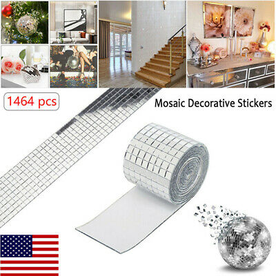 Glass Mosaic Tiles Mirror Self Adhesive Sticker Mini Square Decal Diy Us Stock