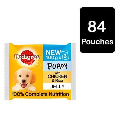 84 x 100g Pedigree Puppy Junior Wet Food Pouches Chicken in Jelly (28 x 3 x100g)