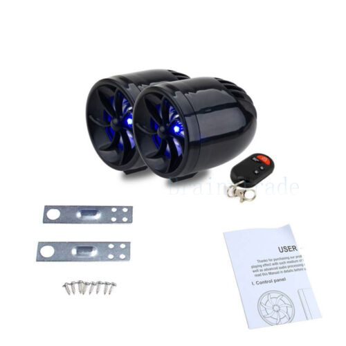 FM MOTORCYCLE RADIO/MP3 Speaker Audio Player Stereo +2 WATERPROOF SPEAKERS Black