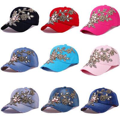 Applique Cap (Women Men Plain Washed Cap Style cowboy applique Baseball Cap With drill Hat)
