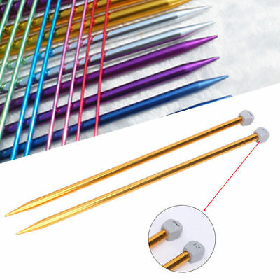 2-10MM Aluminum Knitting Needles Single Point Straight DIY Sewing Weaving - 10 Mm Knitting Needles