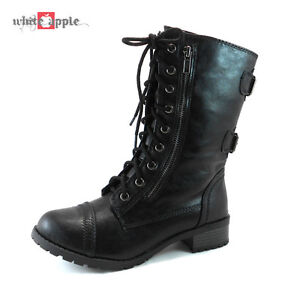 Popular My1stWish  NEW WOMENS BLACK MILITARY COMBAT WORKER BOOTS SIZE 9