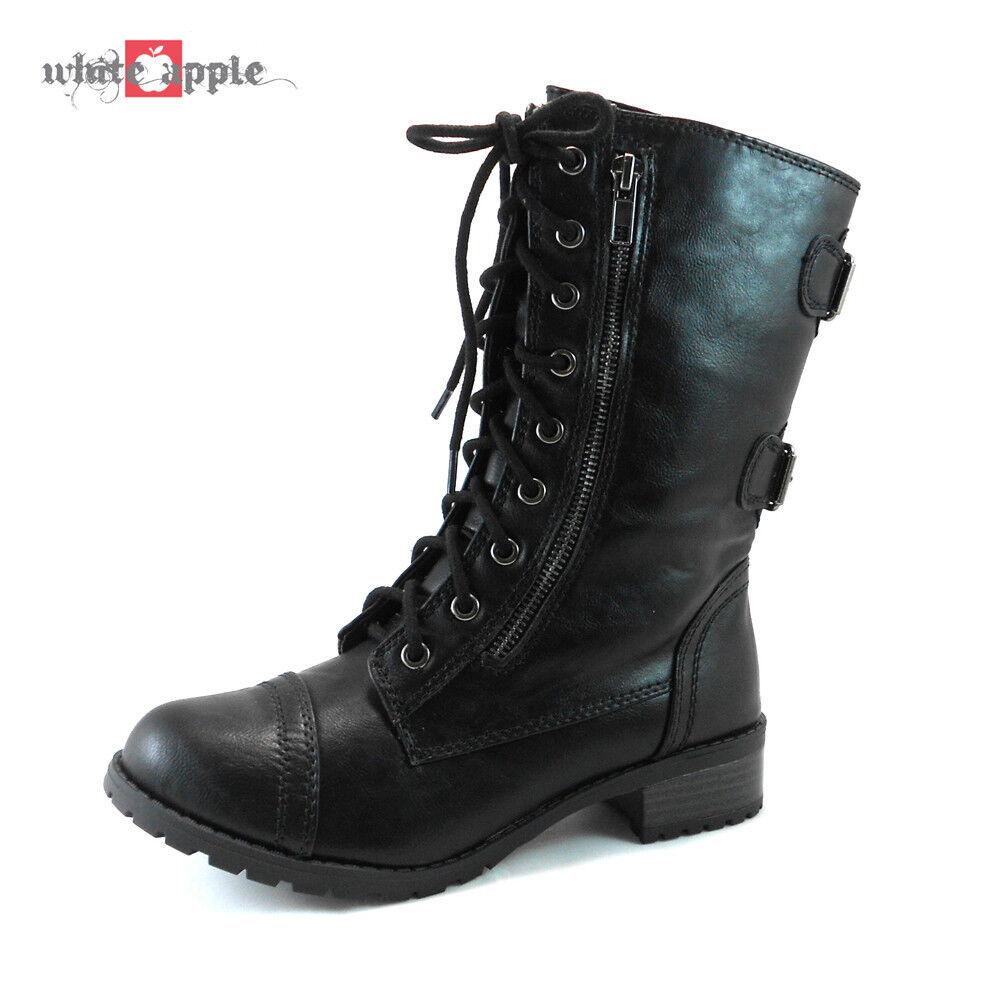Women Military Combat Mid Calf Riding Lace Up Zipper Boots S