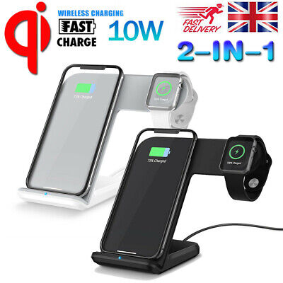 Wireless Charger Phone Stand Charging Dock for iWatch iPhone X XS Apple Watch UK