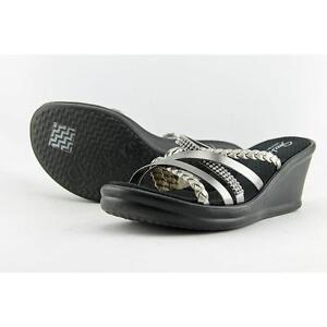 6e6a9f1b6459 Skechers Cali Wild Child Women US 9 Silver Wedge Sandal Pre Owned ...