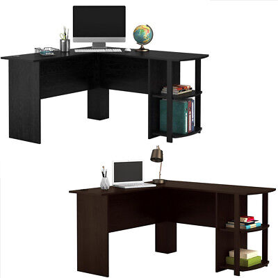 FCH Wooden L-Shaped Computer Desk Home Office Laptop PC Table Bookshelves Black