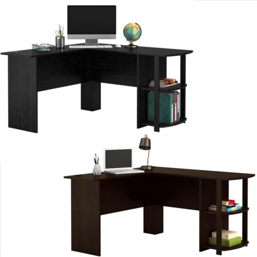 wooden l shaped computer desk home office