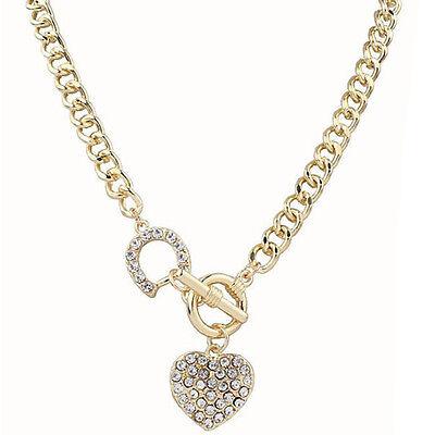 Fashion Charm Jewelry Heart Pendant Crystal Choker Statement Bib Necklace Chain