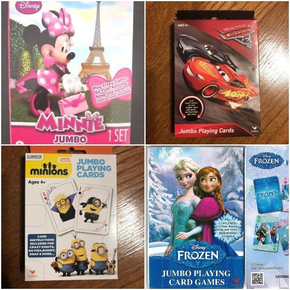 Multi Style Kids Jumbo Playing Cards Minions Minnie Frozen C