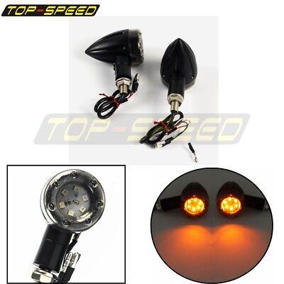 Motorcycle Black Mini Bullet LED Turn Signal Running Stop Light For Harley Honda
