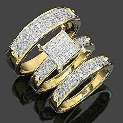 3 Pcs Gold Rings Set Princess Cut Rhinestone Women Men Rings Jewelry Size 6-10