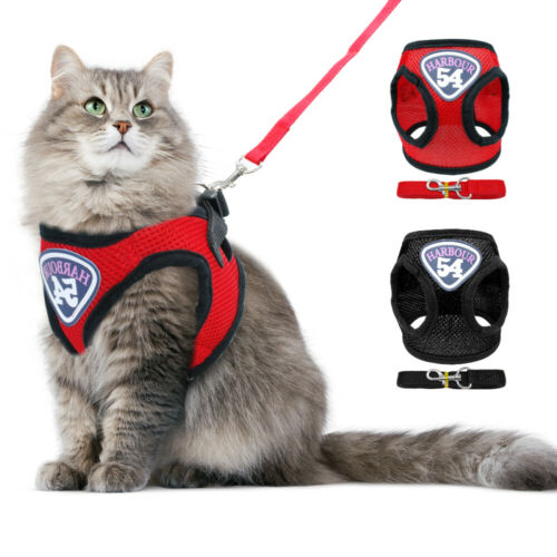 Escape Proof Cat Walking Jacket Harness and Leash Mesh for W
