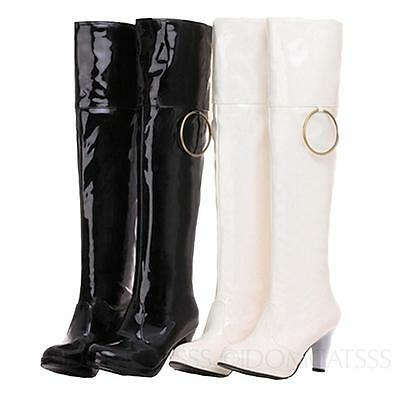 GoGo Boots Ladies patent mens womens Kinky Mid high heel Wet Look large size SSS
