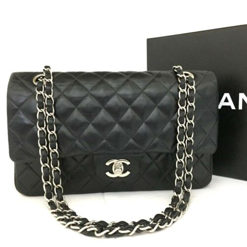 CHANEL Double Flap 25 Quilted Silver Hardware Lambskin Shoulder Bag /11313